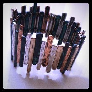 Multi colored metal bracelet